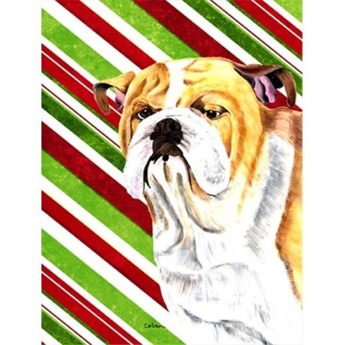 Carolines Treasures SC9334CHF Bulldog English Candy Cane Holiday Christmas Canvas Flag - House Size&, 28 x 40 in.