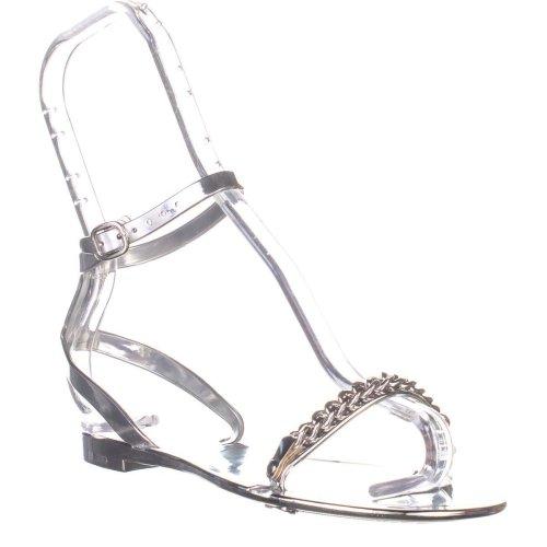 DKNY Moana Ankle Strap Flat Sandals, Silver, 2.5 UK