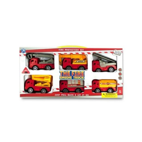 Kole Imports KL251-6 4 x 2 in. Fire Engine Truck Set, 6 Piece - Pack of 6
