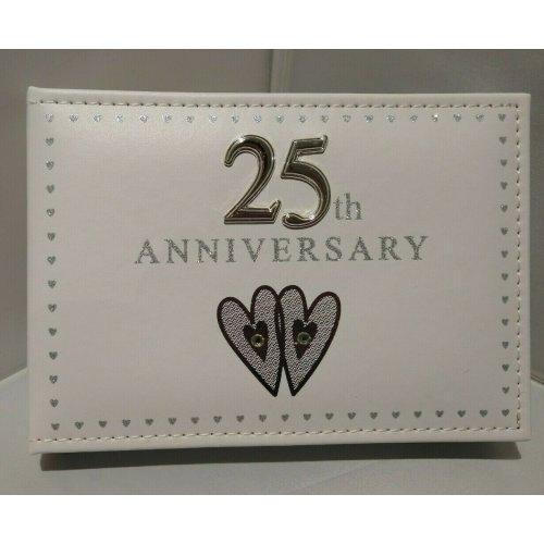 Shudehill Giftware 25th Silver Wedding Anniversary Photo Album 6 x 4