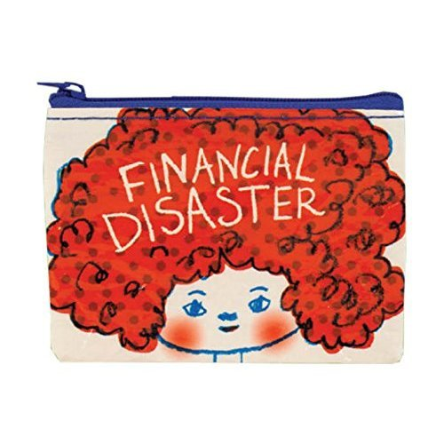 "Coin Purse - Blue Q - Financial Disaster 4x3"" Wallet Bag QA571"