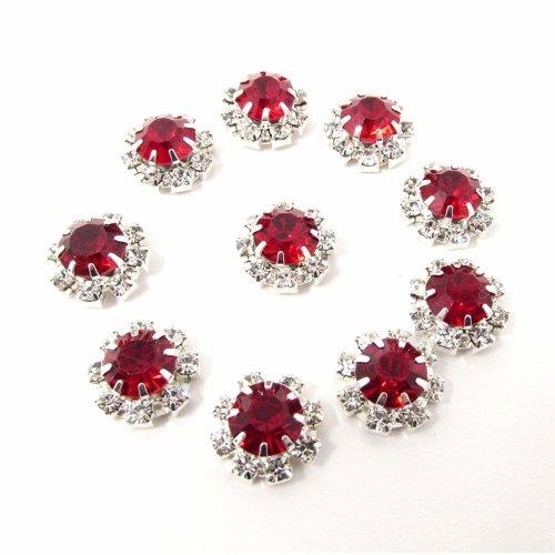 10 x Red Round Rhinestone Diamante Crystal Embellishment 9 Diamantes With Large Center Diamante 12mm