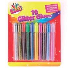 10pk Glitter Glues Pens -  glitter 10 glue colours pens assorted pack art craft