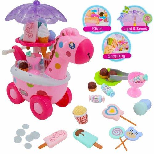 deAO Sweet Shop Giraffe Candy and Ice Cream Cart Trolley(Pink Giraffe)