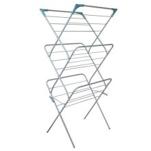 JVL 3-Tier Folding Concertina Laundry Washing Clothes Horse Airer - White