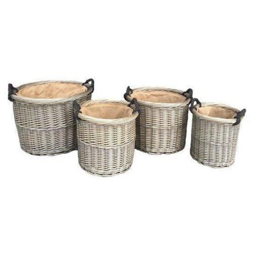Antique Wash Round Rope Handled Log Set 4 Wicker Basket