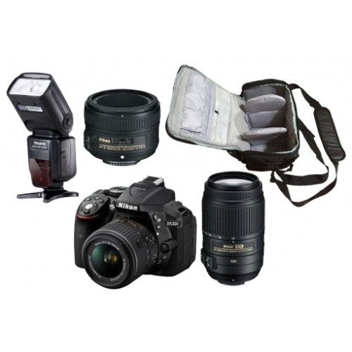 NIKON D5300 KIT AF-P 18-55MM VR + 55-300MM + 50MM F1.8G + Bag + SB700