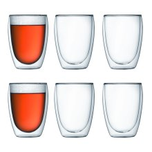Bodum 4559-10-12 PAVINA Double Walled Thermo Glasses, 0.35 L, 12 oz, Set of 6 - Transparent
