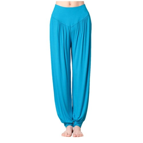 Solid Modal Cotton Soft Yoga Sports Dance Fitness Trousers Harem Pants, L