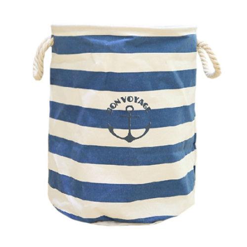 'Bon Voyage' Striped Laundry Hamper - Dark Blue | Nautical Laundry Basket