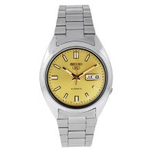Seiko SNXS81K Men's Seiko 5 Automatic Gold Dial Stainless Steel Watch