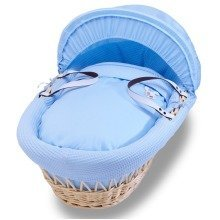 Izziwotnot Blue Gift Natural Wicker Moses Basket Blue
