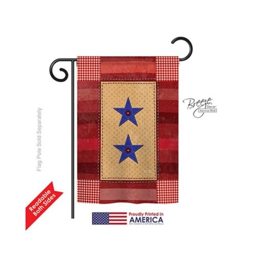 Breeze Decor 58069 Military Two Star Service 2-Sided Impression Garden Flag - 13 x 18.5 in.