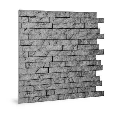 Profhome 3D 704500 Ledge Stone Portland Cement Decor panel 3D shiny grey 2 m2