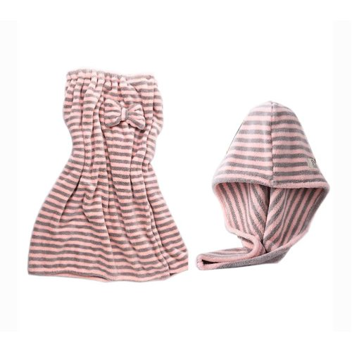 Hair Drying Turban and Bath Towel Wrap Skirt Microfiber Soft Towel Set, Pink Grey Stripes