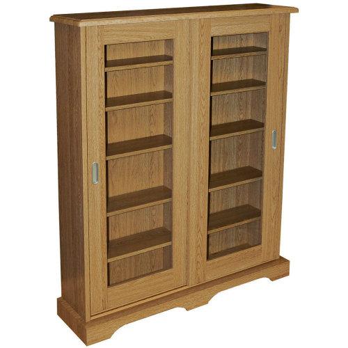 HAMPSTEAD - 432 CD or 216 DVD Blu-ray Media Storage Cabinet - Oak