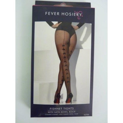 Adult's Black Fishnet Tights -  tights fishnet black bows fancy dress satin burlesque ladies womens accessory sexy