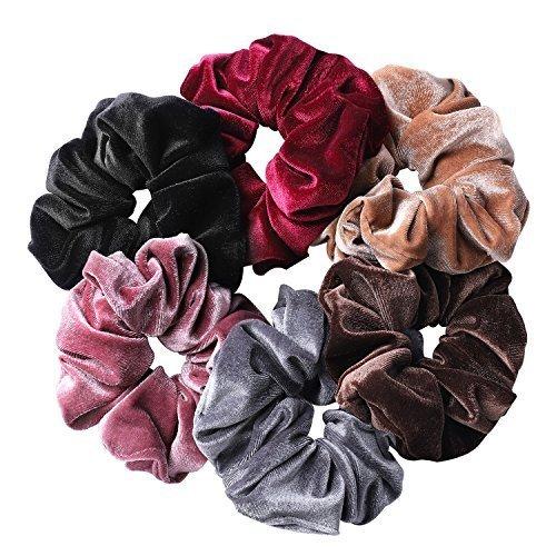 Whaline 6 Big Hair Scrunchies Velvet Elastics Large Hair Bobble Scrunchy Hair Bands Women Soft Hair Ties, 6 Colors