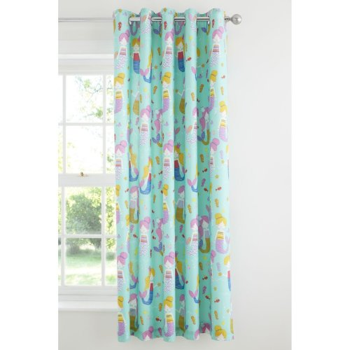 Catherine Lansfield Mermaid Cotton Rich Eyelet Curtains, Blue, 66 x 72 Inch