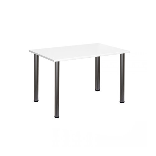 Computer Desk Office Dining Table Workstation Aluminium Legs White Top 120x80cm