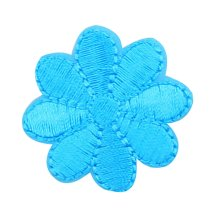 12PCS Embroidered Fabric Patches Sticker Iron Sew On Applique [Flower Blue A]