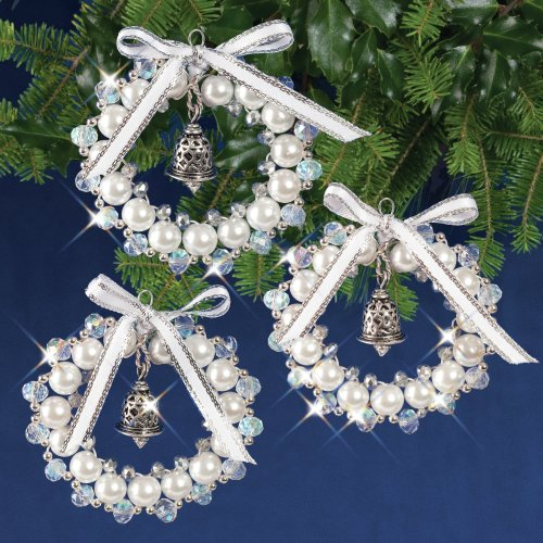 Nostalgic Christmas Beaded Crystal Ornament Kit-Crystal, White & Silver Bell Wreaths