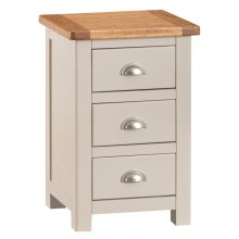Portland Stone Painted Oak 3 Drawer Bedside