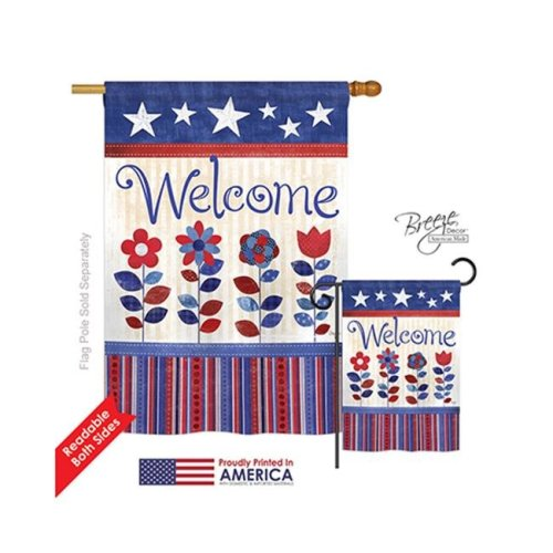 Breeze Decor 11056 Patriotic Patriotic Welcome 2-Sided Vertical Impression House Flag - 28 x 40 in.