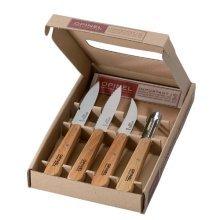 Opinel Kitchen Knife Set - Beech Wood Handles - 4 Piece Gift Set