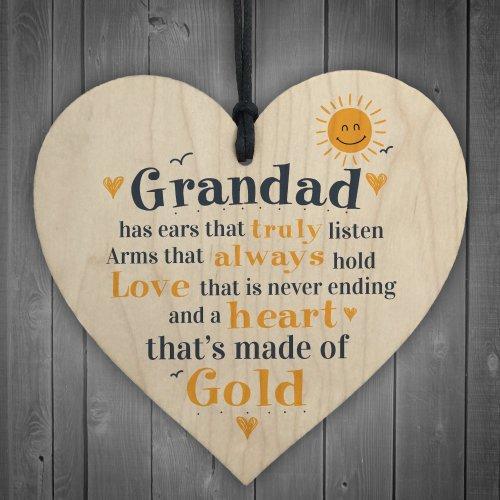 RED OCEAN Fathers Day Wooden Heart Plaque Dad Grandad Grandpa Birthday Gift From Grandchildren