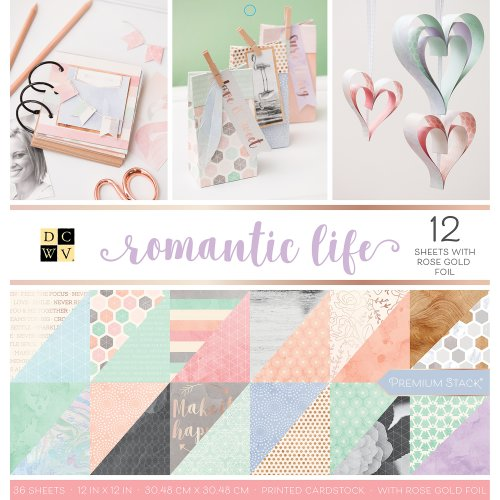 """DCWV Double-Sided Cardstock Stack 12""""X12"""" 36/Pkg-Romantic Life, 18 Designs/2 Each"""