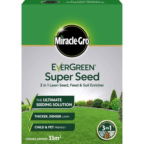 Miracle-Gro Evergreen Super Seed 3 in 1 Lawn Seed, Feed & Soil Enricher