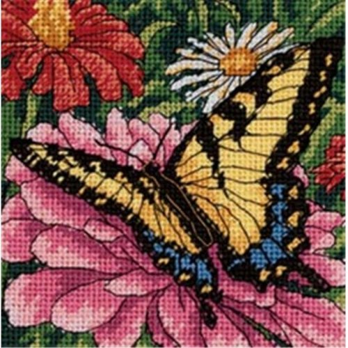 423595 Butterfly On Zinnia Mini Needlepoint Kit-5 in. x 5 in. Stitched In Floss