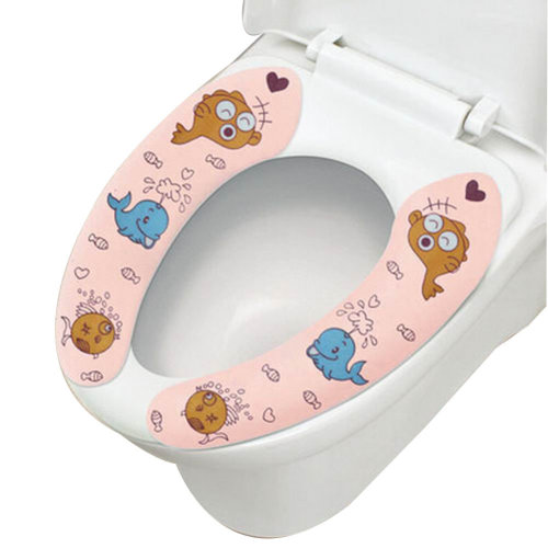 2 Pairs Cute Healthy Sticky Portable Toilet Seat Covers, Pink Whale, 15.4*3.6''