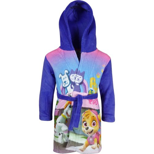 Girls DHQ2100 Paw Patrol Fleece Hooded Dressing Gown / Robe Size: 3-6 Years