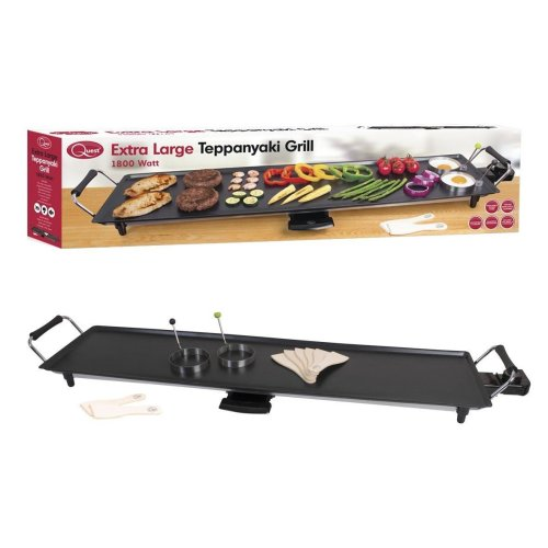 Quest Extra Large Long Party Teppanyaki Grill with Adjustable Thermostat/Non Stick Teflon Coating/Egg Rings And 8 Spatulas, 90 Cm, 1800 W