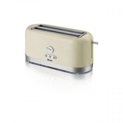 Swan 4 Slice Long Slot Toaster with Defrost Reheat 1200-1400W Cream ST10090CREN