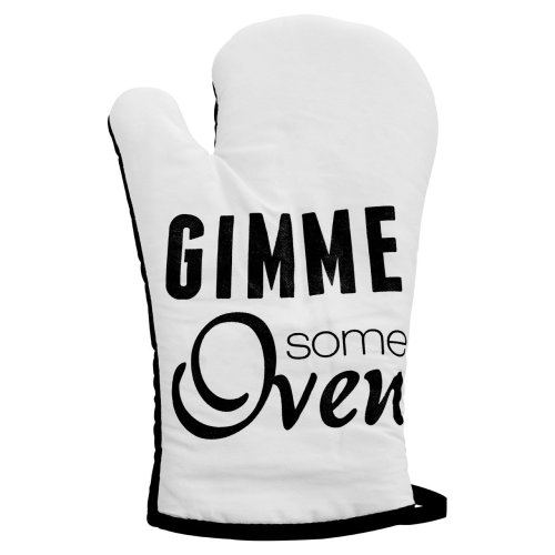 Pun and Games Single Oven Glove - White & Black