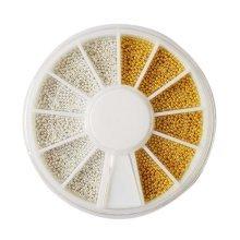 Set of 5 Nail Art White & Gold Beads Beads Decoration Nail Stickers Nail Art DIY