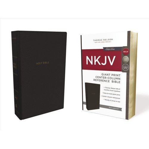 NKJV, Reference Bible, Center-Column Giant Print, Leathersoft, Black, Red Letter Edition, Comfort Print