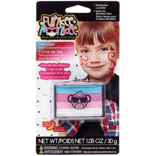 Funkee Munkee Multi-Colored Face Paint 1.05oz-Fairytale-Blue, Two Pinks & White