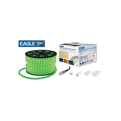 Eagle Static LED Rope Light Kit With Wiring Accessories Kit 45m green