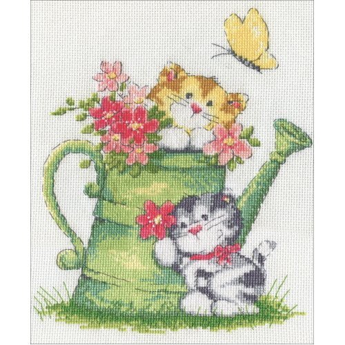 """Design Works Counted Cross Stitch Kit 8""""X10""""-Watering Can Cats (14 Count)"""