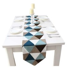 1pc Cotton Creative Geometry Style Table Top Decoration Blue Table Runner