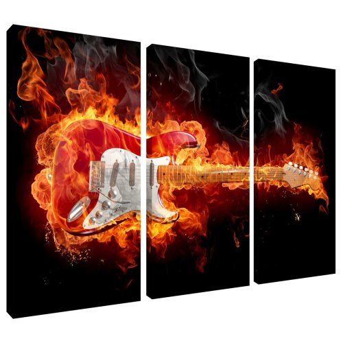 Flaming Fire Guitar Canvas Wall Art Print 3 Panel Split Picture