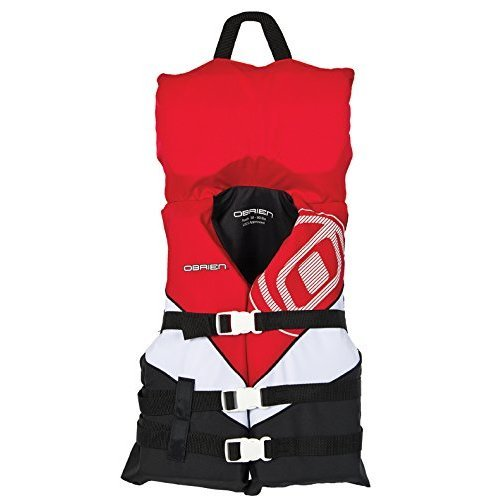 OBrien Youth with Collar 3 Buckle Nylon Vest RedWhiteBlack 50 90 Pounds