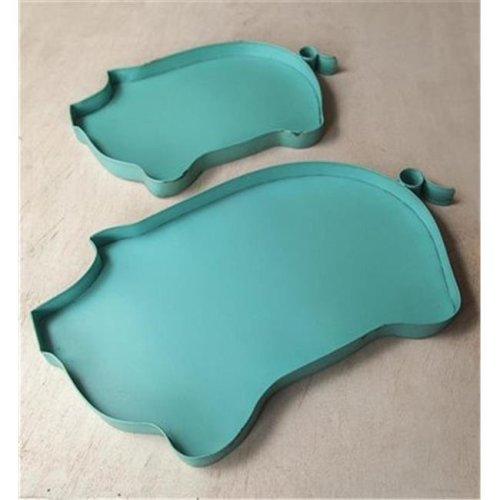 Manual Woodworkers & Weavers IMTRPT 12.25 x 3.75 x 6 in. Metal Pig Turquoise Tray - Set of 2