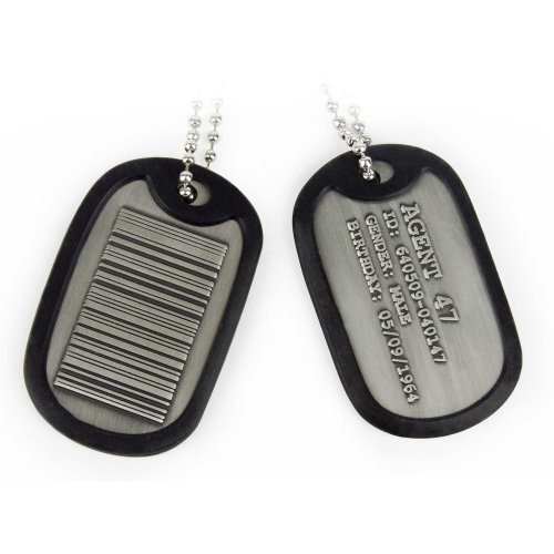 HITMAN Agent 47 Barcode Rubber Rim Metal Dog Tags with Chain, Silver/Black (GE3073)