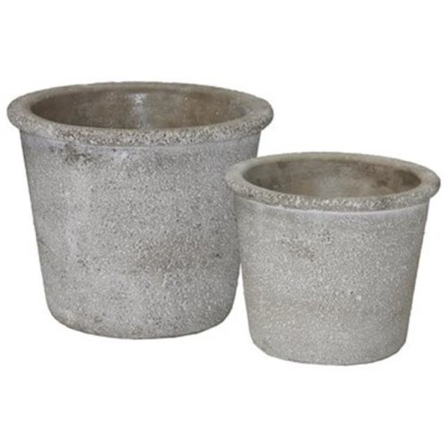 Cement Round Flower Pot with Wide Mouth, Gray - Set of 2