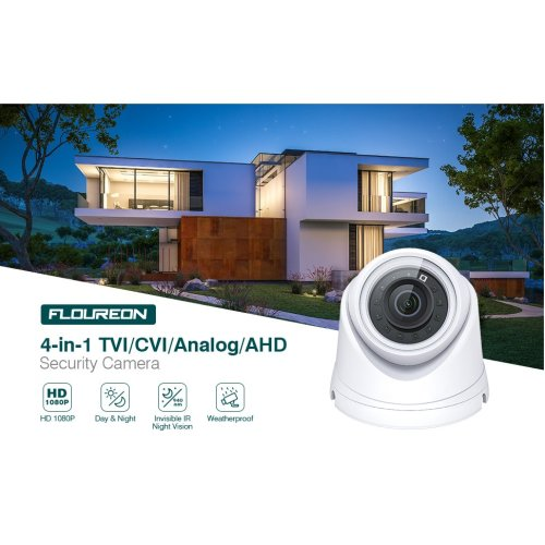 FLOUREON 1080P HD DVR TVI/AHD CCTV Security Camera Night Vision